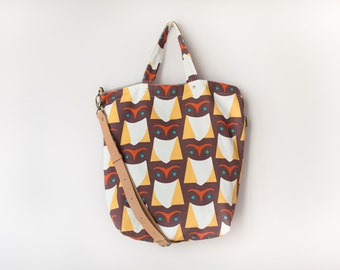 Crossbody Convertible Bag / Canvas Handbag / Tote Bag - brown owl (50% OFF)