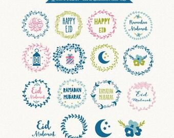 Digital clip art, Eid mubarak and ramadhan clip art for invitations, card making, scrapbooking, website Instant Download