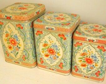 Daher Holland Vintage Canister Set Floral Chic