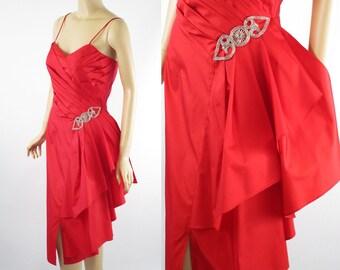 1980s Party Dress Red Taffeta w/ Swag by Heidi J Sz 8 B36 W28