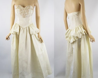 Vintage 1950s Ivory Sweetheart Strapless Evening Gown Formal Wedding B38 W28