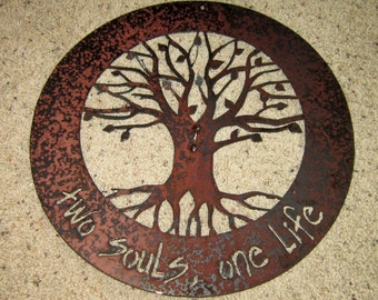 Two Souls One Life LoveLock Ceremony Tree of Life-metal art, love ceremony, wall decor, home decor, wall art