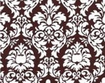 SALE TABLE RUNNER Was 18.00 Dandy damask white and chocolate brown wedding bridal Rpst