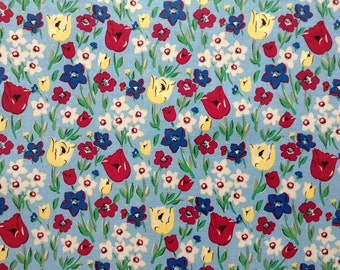 4022 - Cath Kidston Paradise Fields (Blue) Oilcloth Waterproof Fabric - 28 Inch (Width) x 17 Inch (Length)