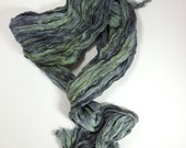 Green Silk Scarf Hand Dyed Long Unisex Fiber Art OOAK from Textured Silks Collection - Forest