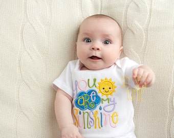 You are my Sunshine, Baby girl, Girl coming home outfit, Embroidered Baby bodysuit