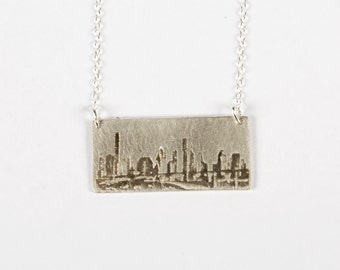 Houston Necklace - Skyline Necklace - Texas Necklace - Personalized City Skyline - Silver Texas Jewelry - Houston Skyline - City Skyline -