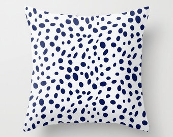 Dalmation Pillow Cover Navy Pillow Animal Print Pillow Throw Pillow Accent Pillow Size Choice