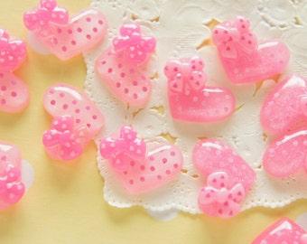 SALE 16 pcs Polka Dots Glitter Heart Cabochon (15mm20mm) IK093 (((LAST/ no restock)))