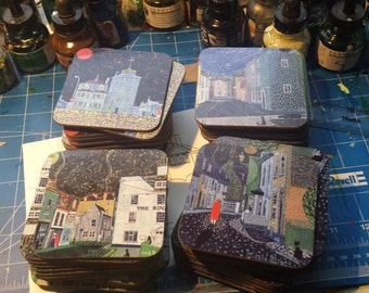 Set of 4 Coasters based on Deal (Kent) paintings by Richard Friend SET A