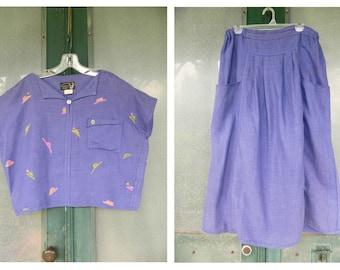 Angelheart Designs 1980s Block Printed Purple Linen Top & Skirt Outfit