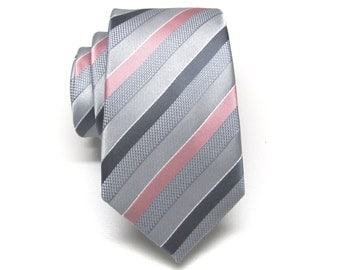 Mens Ties. Silver Gray Dusty Rose Pink Stripe Neckties.  Wedding Neckties. Groomsmen's Ties