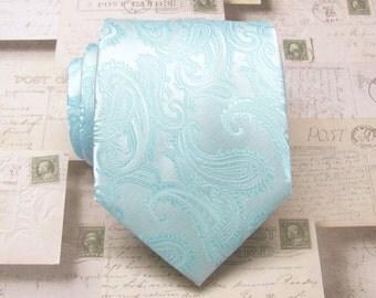 Mens Tie. Wedding Neckties Pastel Pool Blue Pale Blue Paisley Mens Tie. Groomsmens Ties
