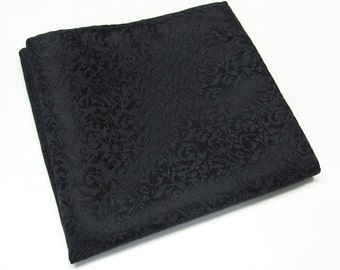 Pocket Squares Black Paisley Hankies