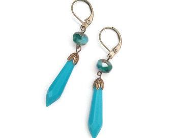 Teal Green Earrings - Glass Drops - Vintage Inspired Earrings - Vintage Drop Pendants - Tide IV Earrings (SD0970)