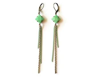 Mint Earrings with Chains - Vintage Inspired Jewelry - Tassels Earrings - Vintage Cabochons - Nolan Earrings (SD0591)