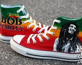 MADE TO ORDER (Any Size) Original Hand Painted Bob Marley Converse
