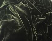 DARK OLIVE GREEN Silk Velvet Fabric fat 1/4