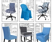 6 different chair slip cover patterns Simplicity 1335