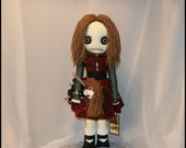 OOAK Hand Stitched Rag Doll With Dolly Creepy Gothic Folk Art By Jodi Cain Tattered Rags
