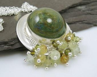 Summer Woods ~ Green Boro Glass, Sterling Silver and Gemstone Pendant and Chain with prehnite, grossular garnet and vesuvianite, hallmarked