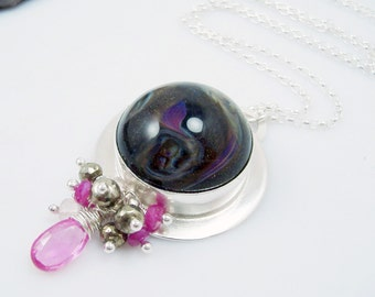 Pink and Glitter ~ Sterling Silver, boro glass, pink sapphire and pyrite pendant, organic glass pendant, hallmarked
