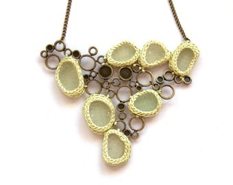 Bib Sea glass necklace statement jewelry gift for her pale green crochet seaglass bronze circles geometric summer beach Weddings