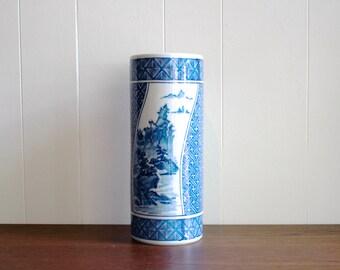 Large vintage porcelain Asian blue and white vase