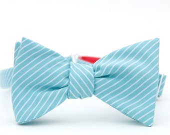 turquiose striped freestyle bow tie