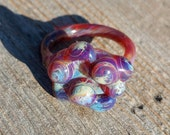 Glass Ring With Amber Purple Bumps Size 6