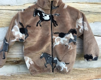 Kids Tan Horse Fleece Zipper Jacket, Kids Pony Jacket, Kids Coat, Fleece Coat, Kids Fleece Jacket, Boy Toddler Jacket, Girl Toddler Jacket,