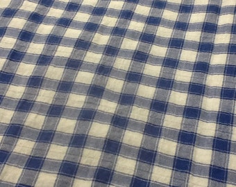 Cotton Blue and White checked  45 inches wide - by the yard