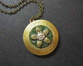 Ladybug Locket, Vintage Button, Woodland Locket, Green, Bug Locket, Insect, Silver Ladybug, Summer, Gift for Gardener, Brass, Photo Locket