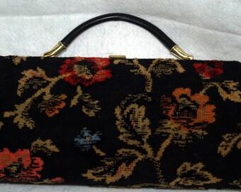 1960s TAPESTRY PURSE   Vintage 60s Black FLORAL Handbag