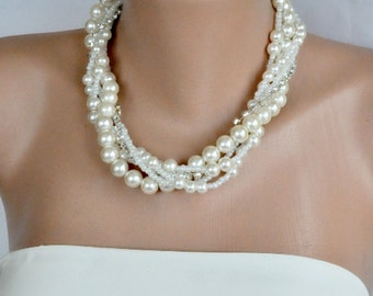 2 Sets of Glass Pearl Necklaces with Gift Matching Pearl Earrings , Bridesmaids Gifts