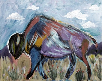 American Bison Illustration Tatanka Buffalo Print from original painting