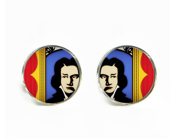 Weirded Out Beethoven small post stud earrings Stainless steel hypoallergenic 12mm Gifts for her