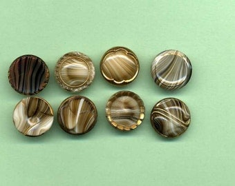 Eight Vintage Glass Buttons - Brown With Gold Luster
