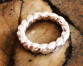 Eternity Ring - Rodeo Rope Band - Sterling Silver - Wedding Engagement Band - The Ranch Collection - Jennifer Cervelli Jewelry