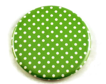 Pocket Mirror Makeup Cosmetic Purse Mirror in Lime Polka Dots (PM96)