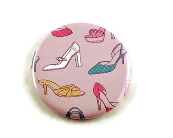 Handmade Pocket Mirror,  Makeup Cosmetic Purse Mirror in Shoe Shopping (PM57)