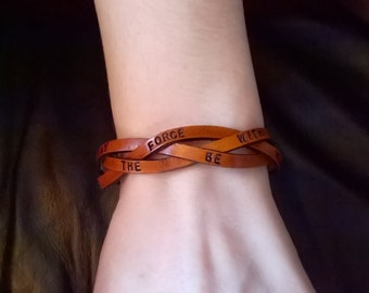 May The Force Be With You - Ultra Thin Braided Leather Wristband - 1/2 inches wide - Unisex