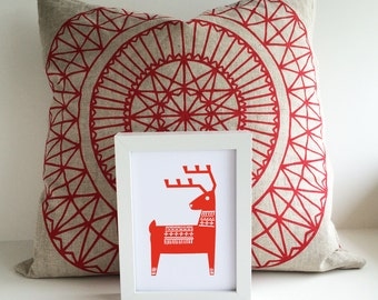 Woodland Nursery Art Print, Minimalist Deer Wall Art, Scandinavian Nursery, Woodblock Style Nursery Art
