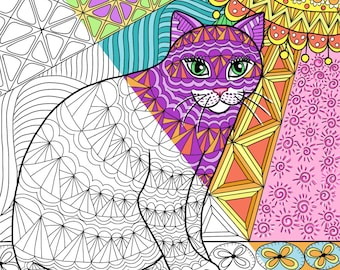 Coloring Page Printable - Calico Tabby Cat printable Zendoodle
