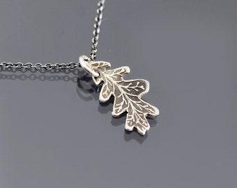Etched Silver Oak Leaf Necklace, Oak Leaf Pendant, Oxidized Silver Pendant, Etched Oak Leaf, Botanical Jewelry