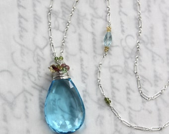 HUGE Swiss Blue Topaz Necklace with Garnet and Tourmaline in Solid Sterling Silver