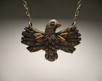 Gold Bird Necklace - Polymer Clay Jewelry