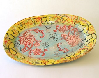 11x17 inch Ceramic Serving Platter in Lotus Garden available in 14 days