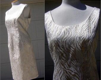 Vintage Brocade Dress  Metalic Silver Gold & Pearly Brocade - Princess Seaming - US Size 14