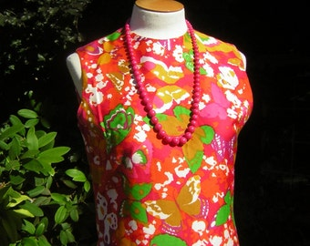 """Vintage Cotton Dress 1960s Shift - Bright Skittle Colored Butterfly Print Size Small to Medium Bust 38"""""""